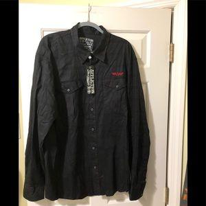 Affliction new black designer button shirt 3XL